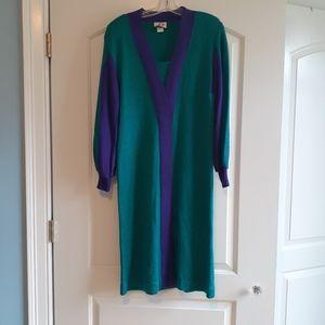 Blue purple long sleeve vintage 80s 90s dress
